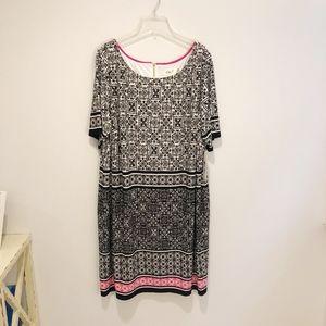 NWT Eliza J Patterned Shift Midi Dress size 20W